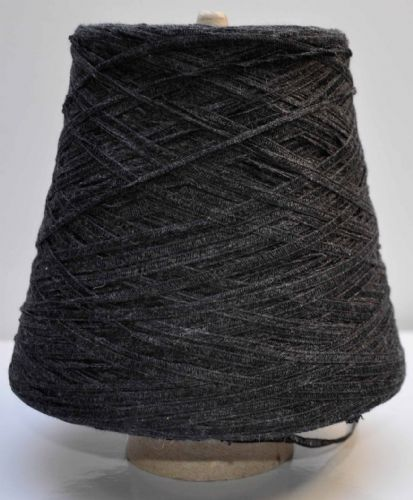 Double knit charcoal grey laddered tape yarn cotton and polyester